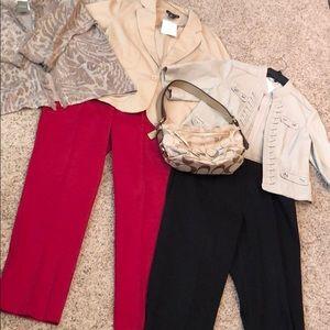 3 jackets,  blk capris & red slacks